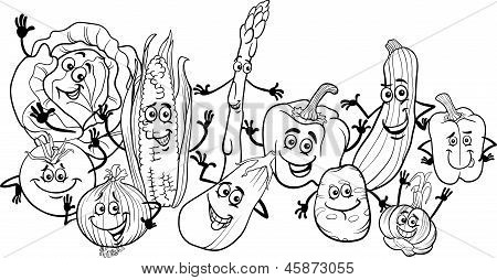 Happy Vegetables Cartoon For Coloring Book
