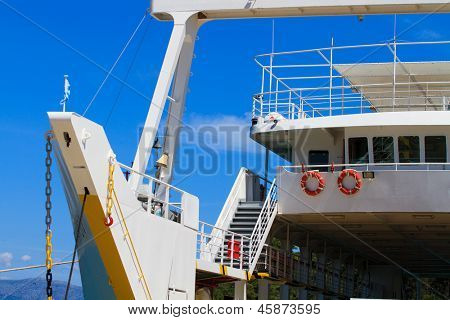 Greek ferry boat at the harbor in Lefkas Greece