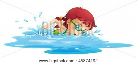 Illustration of a young girl swimming in her green swimming attire on a white background