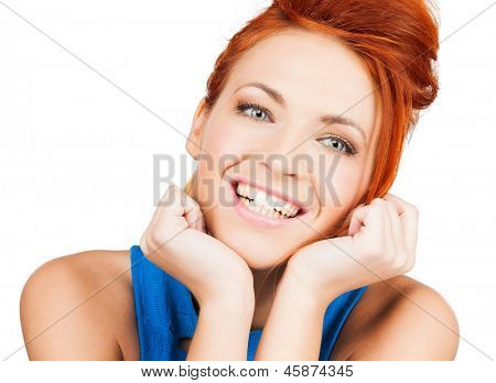 bright picture of happy smiling woman dreaming