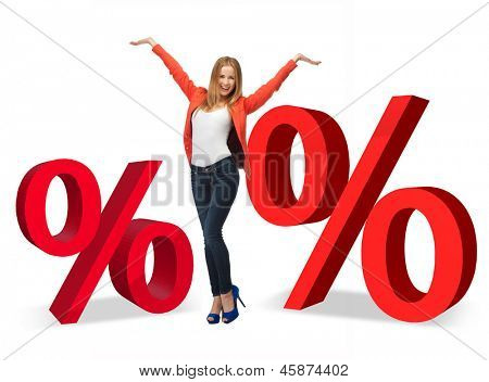 woman with two big red percent signs