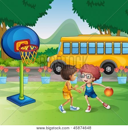 Illustration of the two boys playing basketball near the school bus