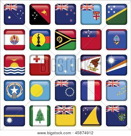 Set of Australian, Oceania Squared Flag Icons