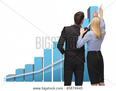 picture of man and woman working with 3d graphics