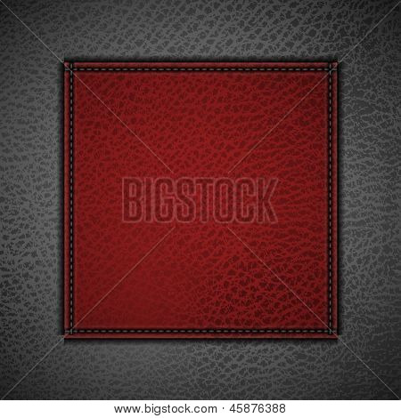 Red label on leather background - eps10