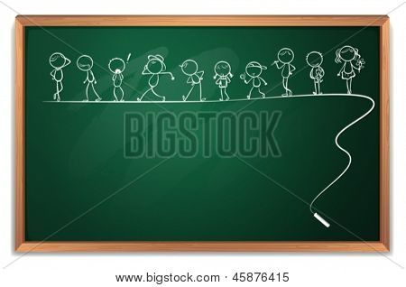 Illustration of a blackboard with a drawing of kids dancing  on a white background