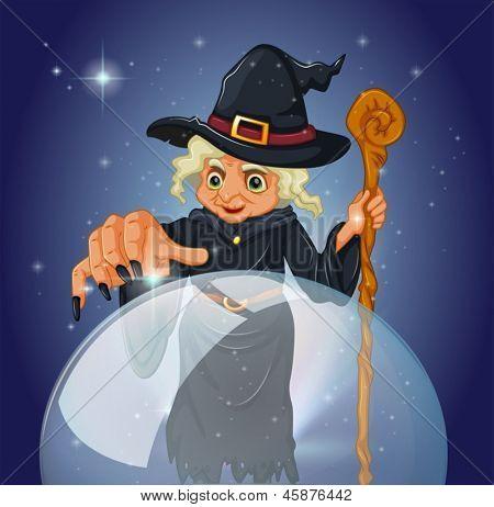 Abbildung einer Hexe mit einem Stock vor eine magische Kugel