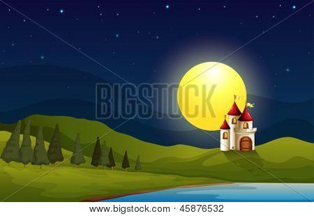 Ilustración de un castillo en la colina bajo una luna brillante