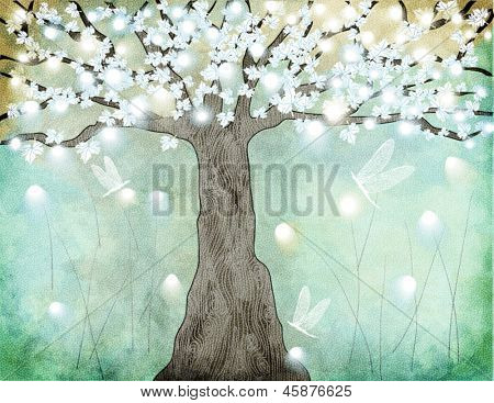 Flowering Tree - Hand drawing of a glowing tree in bloom