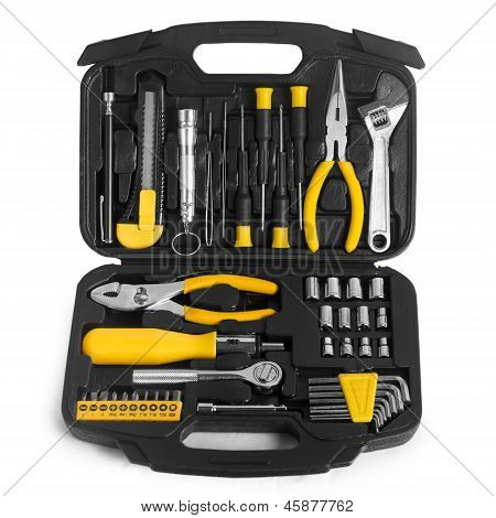 tools set box isolated on white background