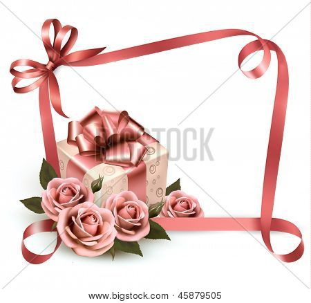 Retro holiday background with pink roses and gift box. Raster version of vector.