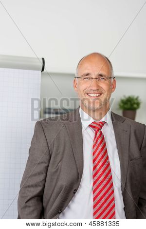 Successful Businessmann Standing By Flipchart