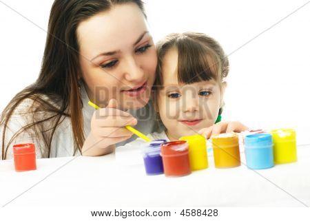Mutter und Tochter Gemälde mit Wasserfarben