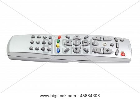 tv silver remote control isolated on white background