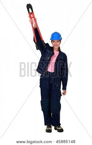 Confident woman with boltcutters