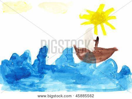 Sailboat Children's Drawing