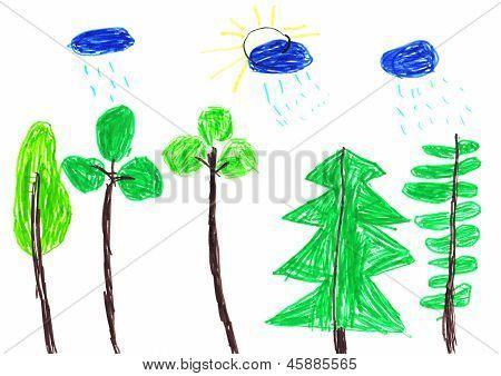 Summer Rain Children's Drawing