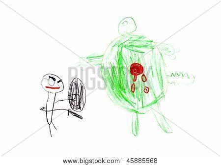 Superhero And Monster Children's Drawing
