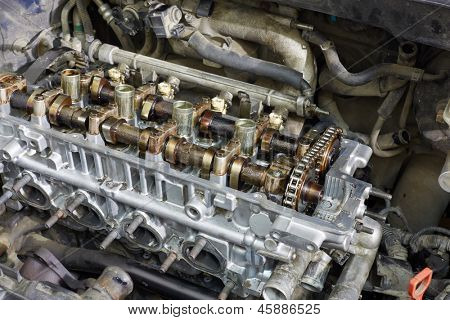 Closeup of gasoline car engine