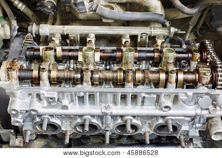 Closeup of gasoline car engine under repair