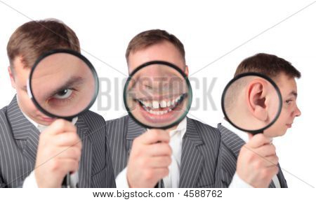 Businesspeople With Magnifier On Ear, Eye, Mouth, Collage