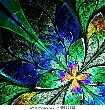 Beautiful Fractal Flower In Yellow, Green And Blue. Computer Generated Graphics.