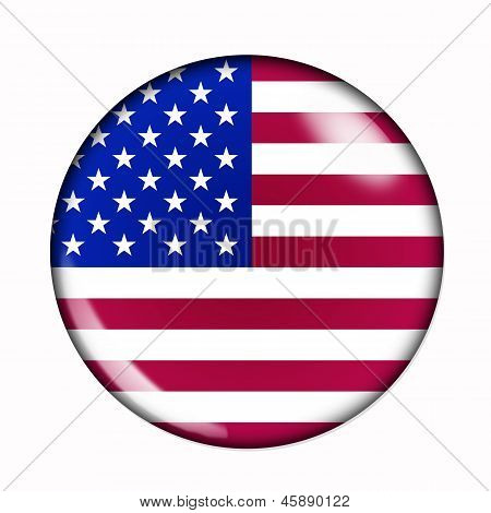 Button Flag Of United States Of America