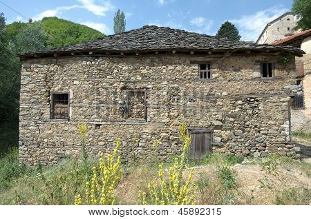 facade of macedonian stone house in Maloviste village Pelister National Park, Republic of Macedonia