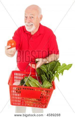Senior Man Geschäfte für Erzeugnisse