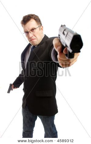 Angry Criminal Businessman With Aimed Gun