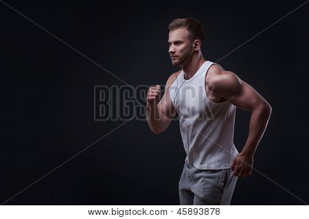 Portrait of running man