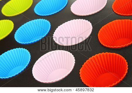 Muffin tray close up