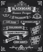 stock photo of chalkboard  - Chalkboard calligraphy banners - JPG