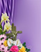 image of happy easter  - Image and illustration composition floral Corner design element for Easter card invitation background border or frame with cross of palms copy space - JPG