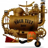 foto of levers  - Vector isolated image of the complex fantastic machine with steam boiler - JPG