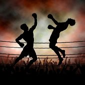 foto of knockout  - Editable vector silhouette of a boxer knocking out his opponent with an uppercut punch with background made using a gradient mesh - JPG