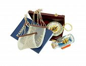 picture of macrame  - Blue passport needed when traveling between borders leather briefcase hammock ship in a glass bottle and a brass compass - JPG
