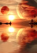 stock photo of cosmos  - Landscape in fantasy planet - JPG