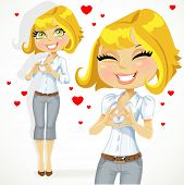 Cute blond girl folded heart out of the hands
