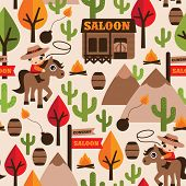 foto of lasso  - Seamless wild west cowboy saloon illustration kids background pattern in vector - JPG