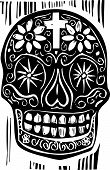 pic of day dead skull  - Woodcut style Mexican day of the dead skull - JPG