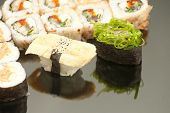 Japanese seafood sushi , roll set closeup