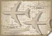 Old Project of a Plane In Five Orthogonal Views