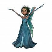 picture of faerie  - 3D digital render of a little fantasy faery isolated on white background - JPG