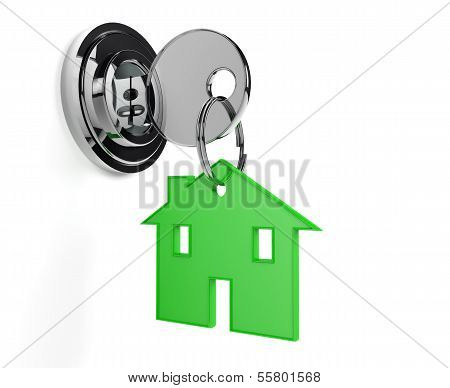 Lock And Key With Home Shaped Keyring Home
