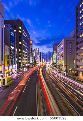 Hiroshima, Japan cityscape above Aioi-dori Avenue.