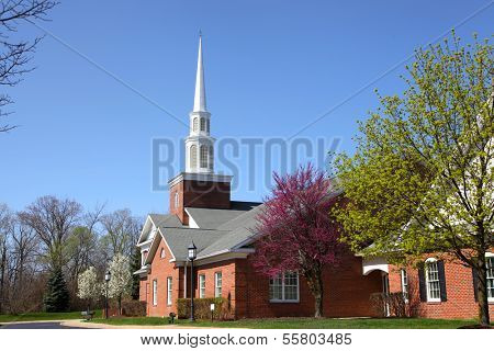 Elegant Church building in spring time