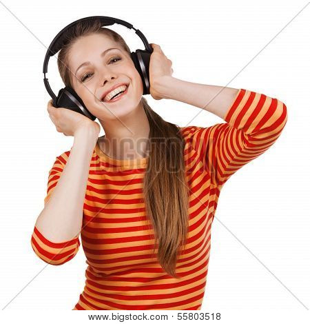 Cheerful Girl With Headphones Listening To Music