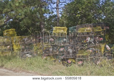 Stack Of Wire Lobster Traps