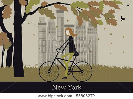 Woman On The Bicycle In New York.